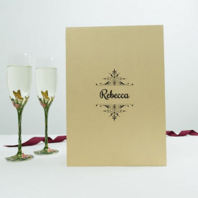 Champagne Crystal Flutes Butterfly Set
