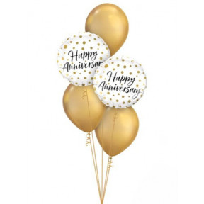 Happy Anniversary White And Gold Balloon Bouquet