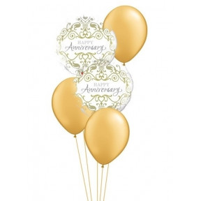 Happy Anniversary Gold And White Balloon Bouquet