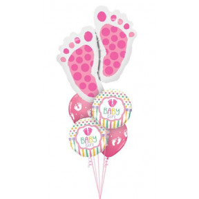 Giant Newborn Baby Girl Footsteps Balloon Bouquet