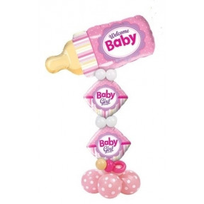 Welcome Baby Girl Balloon Stand