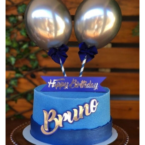 Personalized Blue Silver Cake With Chrome Balloons (Half KG)