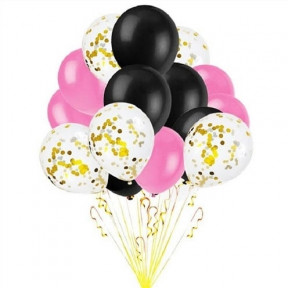 Black, Pink And Gold Confetti Balloon Bouquet