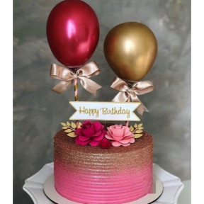 Personalized Pink And Gold Cake With Chrome Balloons (Half KG)