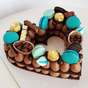 Blue Macarons And Ferrero Rocher Heart Cake For Him