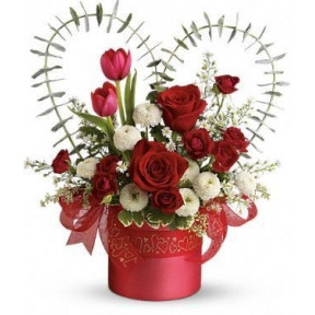 'With Love' Red Roses & Tulips Flower Arrangement