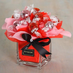 Red Lindt Lindor Truffles Chocolate Bouquet