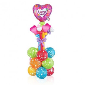 'Love You' Colorful Balloon Stand