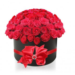 'My Only Love' Red Roses In A Black Round Gift Box With Brooch