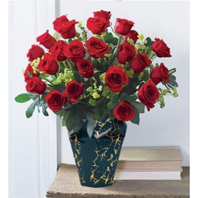50 Red Roses In Black Gold Marble Vase