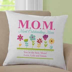 Personalized Floral Cushion 'MOM: Most Outstanding Mom'