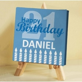 Personalized Birthday Canvas with wooden stand