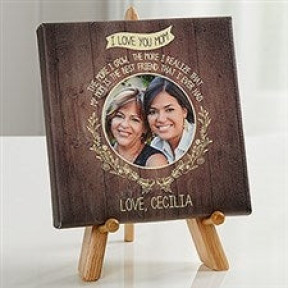 Personalized 'MOM' Canvas with wooden stand