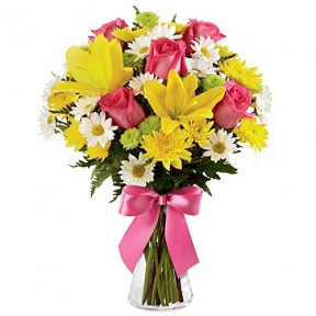 Springtime Colorful Pink & Yellow Flowers In A Vase