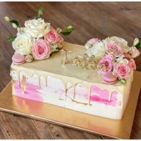 Pink And White Roses Painted Cake