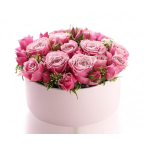 Pink Roses In A Round Gift Box