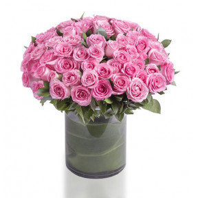 Grand Pink Roses In A Vase