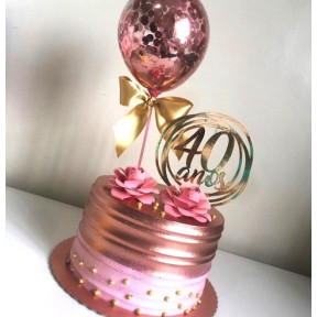 Personalized Rose Gold Cake With Confetti Balloons (Half KG)