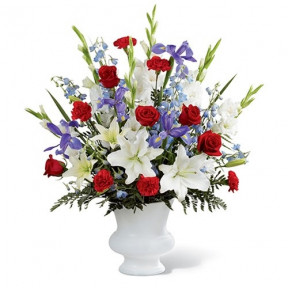Regal Blue, White & Red Flower Arrangement