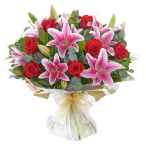 Red Roses & Pink Lilies Flower Bouquet
