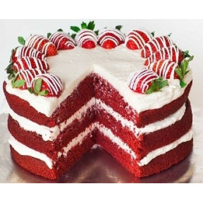 Fresh Strawberries And Red Velvet Cake (Half KG)
