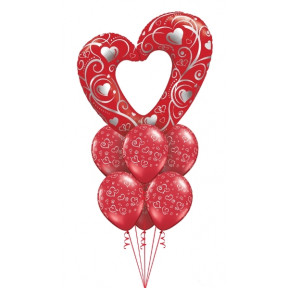 Large Red Balloon Heart Bouquet