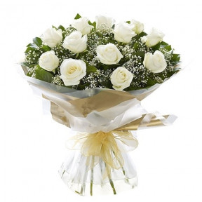 White Roses With Baby'S Breath Flower Bouquet
