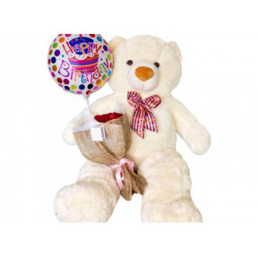 Human Size 4'6 Ft. Cream Happy Birthday Teddy, Roses & Balloon (12 Roses Bouquet)