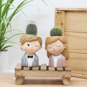 We Make A Prickly Pair (Cactus In Mini Couple Planters)
