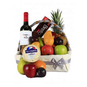 Gourmet, Wine and Fruits Gift Basket