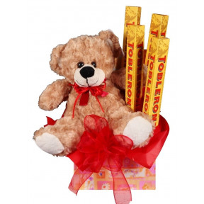 Cute Teddy Bear And Toblerone Gift Set