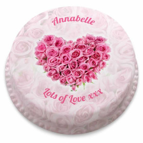 Rose Heart Cake (Small Party Cake (Serves 10-12))