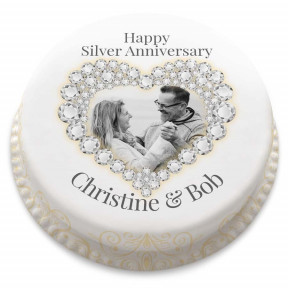 Silver Wedding Anniversary Cake (Small Party Cake (Serves 10-12))