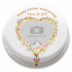 Golden Wedding Anniversary Cake (Small Party Cake (Serves 10-12))