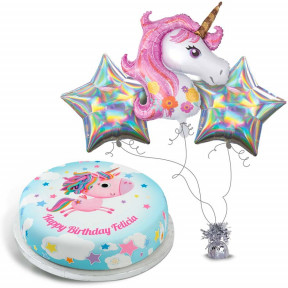 Glitzy Silver Unicorn Gift Set (Small Cake Set (L) Serves 10)
