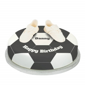 White Football Boots Cake (Small Party Cake  (P) (Serves 10))
