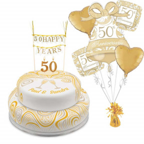 Golden Anniversary Tiered Set (Single Tier (L) (Serves 10))