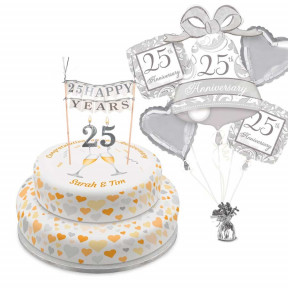 Silver Anniversary Tiered Set (Single Tier (L) (Serves 10))
