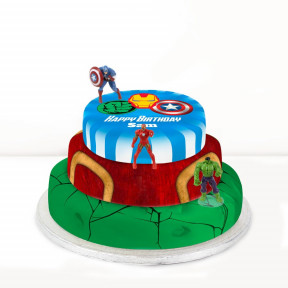 Avengers Trio Cake (Single Tier (L) (Serves 10))