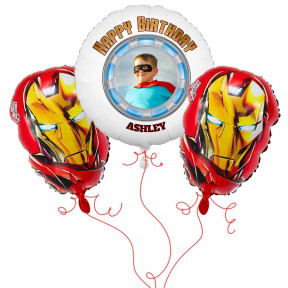 Iron Man Photo Balloon Bouquet
