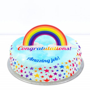 Rainbow Congrats Cake (Small Party Cake (P) Serves 10)