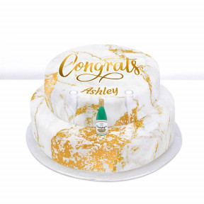 Tiered Champagne Congrats Cake (Single Tier (L) (Serves 10))