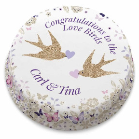 Purple Love Birds Cake (Small Party Cake (Serves 10-12))