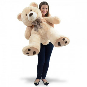 Giant Teddy Bear 1 Meter And 8 Cm - Willian With Plaid Bow