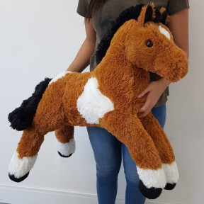 Plush Horse 1 Meter Lying - Pampa Light Brown With White