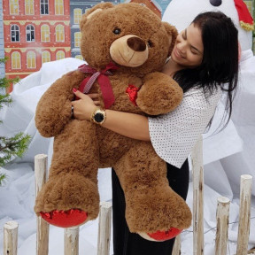 Teddy Bear 85 Cm - With Reverse Sequin Magic Of Love Brown