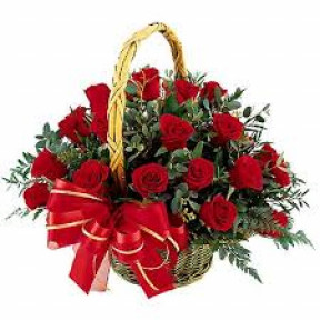 Basket With 12 Roses And Chocolates