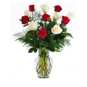 I Love You Red And White Roses In Vase