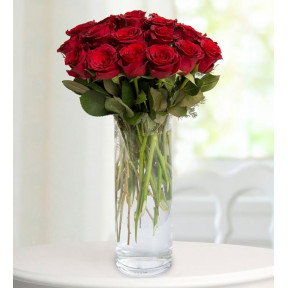 19 Red Roses - Red Hearts (With Vase)