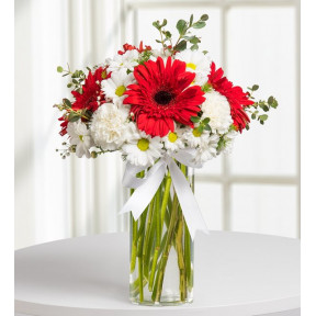 Gerberas, Carnations and Daisies - Noble Blossoms (With Vase)